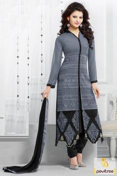 Bollywood actress urvashi rautela designer gray color cotton printed salwar kameez. Buy online this Bollywood collection salwar suit for every young girls. #salwarsuit, #bollywooddress more: http://www.pavitraa.in/catalogs/latest-designer-salwar-kameez-and-dresses-collection/