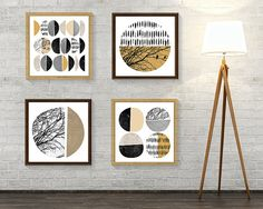 Set of 4 Prints, Print Set, Mustard, Scandinavian Print, Scandinavian, Minimalist Poster, Downloadable Prints, Scandi Art, Minimalist Art