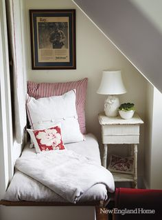 Reading nook in the 1847 New Hampshire farmhouse of Nancy Ross.