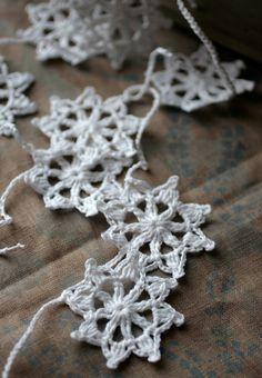 Crochet Garland - Wall Hanging - Small Doily Bunting -- Snowflake garland - Snow White. $23.00, via Etsy.