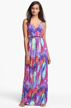 Free shipping and returns on Presley Skye Print Jersey Maxi Dress at Nordstrom.com. Vivid hues splash the sweeping length of a relaxed V-neck maxi cut from pliant jersey and nipped at the waist by an on-trend braided belt.
