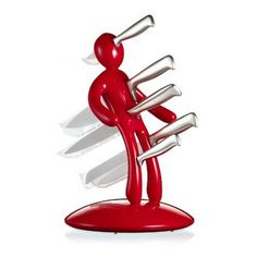 The Ex - Unique Knife Holder is a clever design and a lot more cutting edge than the boring old block of wood.  This unique artistic knife holder is made of heavy duty ABS plastic and comes complete with five kitchen knives.