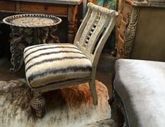 Sling Back Chair With Intricate Carvings  Dealer #333  $625  Lucas Street…