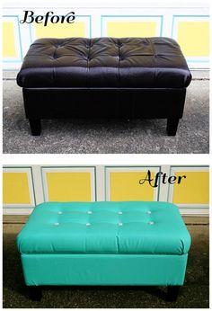Leather Storage Ottoman recoveredDIYPinterestToys An and