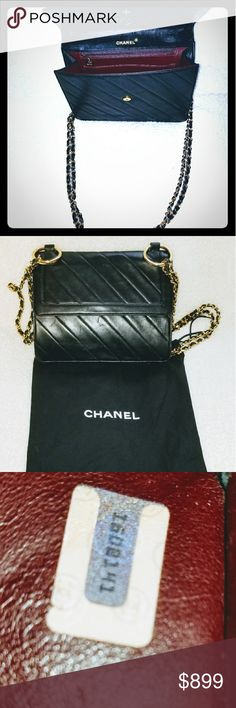 Bag Authentic!Authentic Vintage Chanel Black bag Here is your chance to own a piece of fashion history with this Vintage Chanel bag set withdust cover.It ispre-owned and in great condition but has someindentations on the leather in some areas. The pictures are extremely accurate. They show exactly what the bag looks like.No odors, tears or scratches. Why is it cheap? well I am not one of those people that overprice things to sit in their closet  and collect dust...make a reasonable…