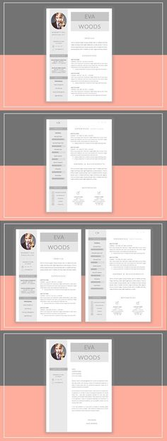 Resume Template 4 pages Moonlight Resume Templates Pinterest