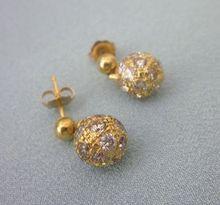 Yellow Gold Flirty Dangle Earrings With CZ Accents Gold Jhumka Earrings, Gold Earrings Designs, Gold Diamond Earrings, Gold Bangles, Dangle Earrings, Small Earrings, Kids Jewelry, Gold Set, Jewelry Patterns