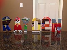 These custom made letters are painted and decorated to look like the Paw Patrol Characters and are 8 tall. These are lightweight and made of mâché