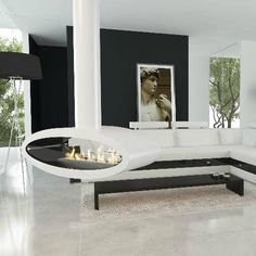 Decoflame Ellipse Ceiling Mounted Manual Ethanol Fireplace-44 inch-Modern Ethanol Fireplaces Ethanol Fireplace, Modern Interior, Ceiling Height, Living Room With Fireplace, Hanging Fireplace, Sustainable Design Interior, Home Decor, Fireplace, Ceiling Installation