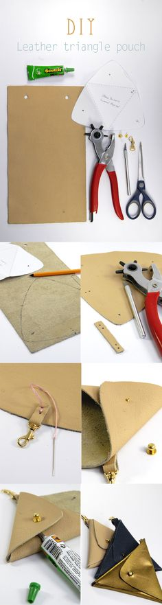 DIY tuto leather triangle pouch 1