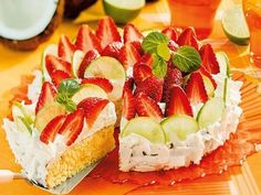 Lime Cake with Strawberries