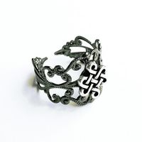 Gunmetal Filigree Ring with Celtic Knot