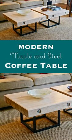 Find out how to build a modern maple and steel coffee table featuring a solid maple top and welded steel base.
