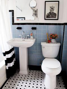 Darling bathroom, love the tile floor