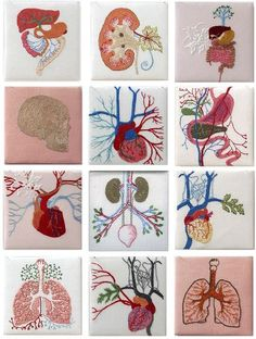 "Embroidery On Paper Above via moshita: Cecile Dachary In love with this embroidered anatomy? Take a tour through some other examples of ""string theory Embroidery Art, Cross Stitch Embroidery, Embroidery Patterns, T-shirt Broderie, Textiles, Fabric Art, Fiber Art, Needlework, Sewing Projects"