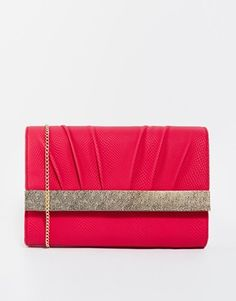New look Babs Bashed Metal Bar Clutch