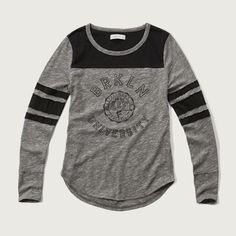 Abercrombie & Fitch Distressed Logo Graphic Tee ($25) ❤ liked on Polyvore featuring tops, t-shirts, heather grey, heather grey t shirt, cotton t shirt, cotton tee, crew neck t shirt and striped crew neck t shirt