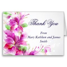 Green and Pink Floral Design Thank You Note Note Card