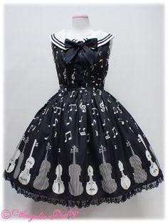Classic Melody Round Collar JSK in Black from Angelic Pretty - Lolita Desu