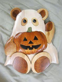 Handmade halloween wooden Intarsia ghost teddy by woodworkingal, $55.00