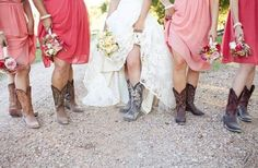 I just really love the idea of an outdoor country wedding with cowboy boots!!! and I LOVE the mis-matched PINK bridesmaid dresses!