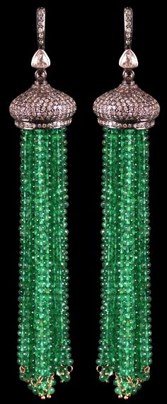 Emerald Bead Tassel Earrings accompanied by 147.35 carats of Emeralds and 3.60 carats of Diamonds. Set in Silver & Gold.