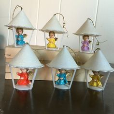 Vintage Angel Christmas Ornaments Germany Set of 6 Plastic by RetroResaleSanDiego on Etsy
