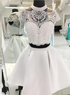 Stunning Two Pieces Homecoming Dresses Sheer High Neck