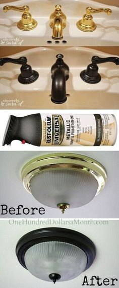 Use Rust-Oleum to paint outdated brass faucets, hardware and fixtures! -- 27 Easy Remodeling Projects That Will Completely Transform Your Home diy home improvement Easy DIY Remodeling Ideas On A Budget (before and after photos) Easy Home Decor, Home Improvement, Decor, Diy Home Improvement, Diy Remodel, Diy Home Decor, Cheap Home Decor, Home Decor, Home Projects