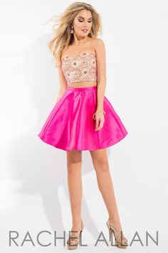 Rachel Allan 4159 Gold/Fuchsia Homecoming Dress
