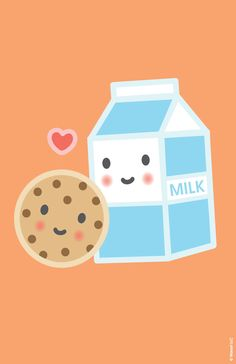 Milk & Cookie ★ Find more Super Cute Kawaii wallpapers for your #iPhone + #Android @prettywallpaper