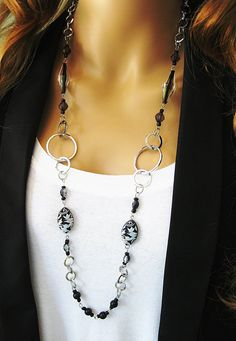 Black Beaded Necklace Chunky Silver Chain Long by RalstonOriginals