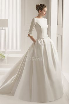 [137.99 €] Vestido de noiva Manga Raglã Cintura Natural Cauda Pequeno Cetim