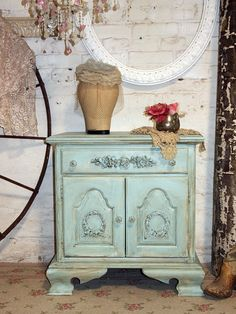 Painted Cottage Chic Shabby Aqua Romantic Night by paintedcottages