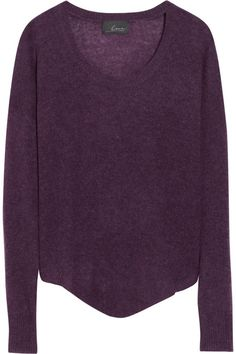Line The Champ cashmere sweater in plum- wear with floral denim with plum colored flowers, black peep toe booties, black purse