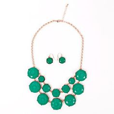 Deux Necklace Earrings Set Green, $48, now featured on Fab.