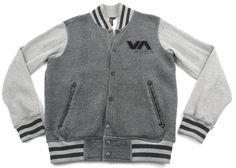 RVCA Varsity Jacket Black Gray Mens Size Small S Cotton Polyester Blend Snap Up #RVCA #VarsityBaseball