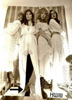 an unusual photo of Stevie ~ ☆♥❤♥☆ ~surrounded by her back-up singers ~ Lori Perry-Nicks, Sandy Stewart, Stevie and Sharon Celani ~ photo from 'The Wild Heart' era, taken by Stevie's friend and music celebrity photographer Herbert. W. Worthington 111