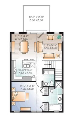 Second Floor Plan of Garage Plan 76227. Great house above the garage plan for a small lot.