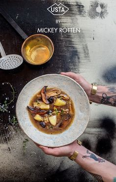 mushroom, potato stew - Monday's vegan recipe series by Mickey Rotten for Usta