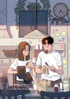Love Cartoon Couple, Cute Couple Comics, Cute Couple Art, Anime Love Couple, Cute Couple Drawings, Cute Drawings, Aesthetic Anime, Aesthetic Art, Anime Couples