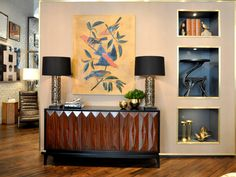 perfectly edited display on sideboard and wall cut-outs