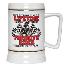 Some people have to wait a lifetime to meet their favorite rider, mine calls me Papa - Beer Stein. Order here - https://diversethreads.com/products/favorite-motocross-rider-mine-calls-me-papa-beer-stein