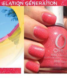 Smalto Orly Elation Generation: rosso fragola illuminato da micro-glitter www.smaltiorly.it - numero verde 800 676 330