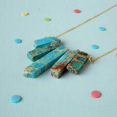 Blue Sea Sediment Jasper Necklace Semi by TheRaspberryFinch, £14.00