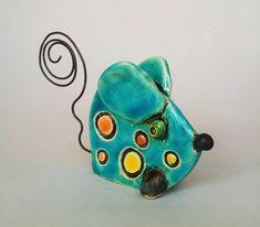 IziSculptures Blue Mouse, ceramic sculpture, art sculpture, clay figurine, ceramic figurine, art ceramics, ceramic doll