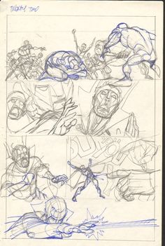 Gil Kane  - Defenders Giant Size #2 pg 22 layouts Comic Art