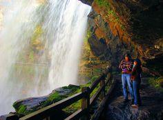 Walk behind Dry Falls #waterfall near Highlands, NC, in Nantahala National Forest