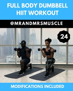 Full Body Dumbbell Workout – with modifications Full Body Dumbbell Workout – with modifications,Full Body HIIT Workouts Grab some dumbbells and try this super sweaty fat burning full body workout. We have included modifications. Fitness Workouts, Hiit Workout At Home, Gym Workout Videos, Fitness Workout For Women, At Home Workouts, Hiit Workouts Fat Burning, Cardio Hiit, Kettlebell Circuit, Bike Workouts