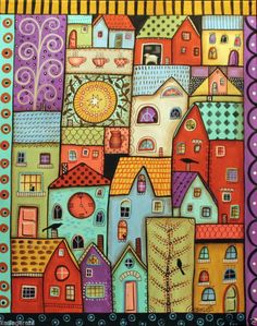 Gazers CANVAS PAINTING Houses Birds Sheep Cats 16x20inch FOLK ART Karla Gerard ..New painting for sale, ready to hang..